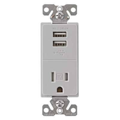 2.4 Amp USB Charger with Single Receptacle, Gray