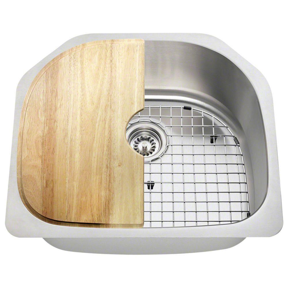 Polaris Sinks Undermount Stainless Steel 23 1 2 In Single Bowl Kitchen Sink Kit P1242 16 Ens The Home Depot