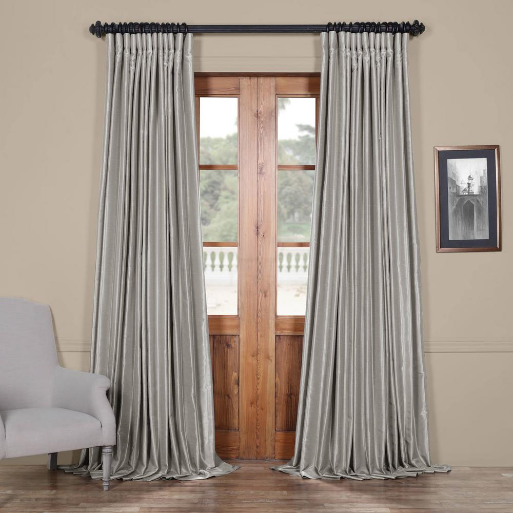 Exclusive Fabrics & Furnishings Silver Blackout Extra Wide Vintage Textured Faux Dupioni Curtain - 100 in. W x 96 in. L