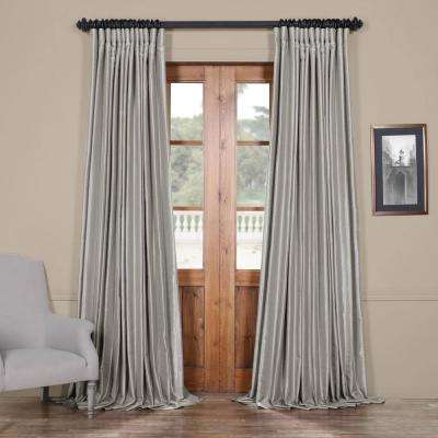 Silver Blackout Extra Wide Vintage Textured Faux Dupioni Curtain - 100 in. W x 96 in. L