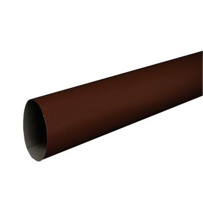 3 in. Royal Brown Aluminum Plain Round 10 ft. Downspout
