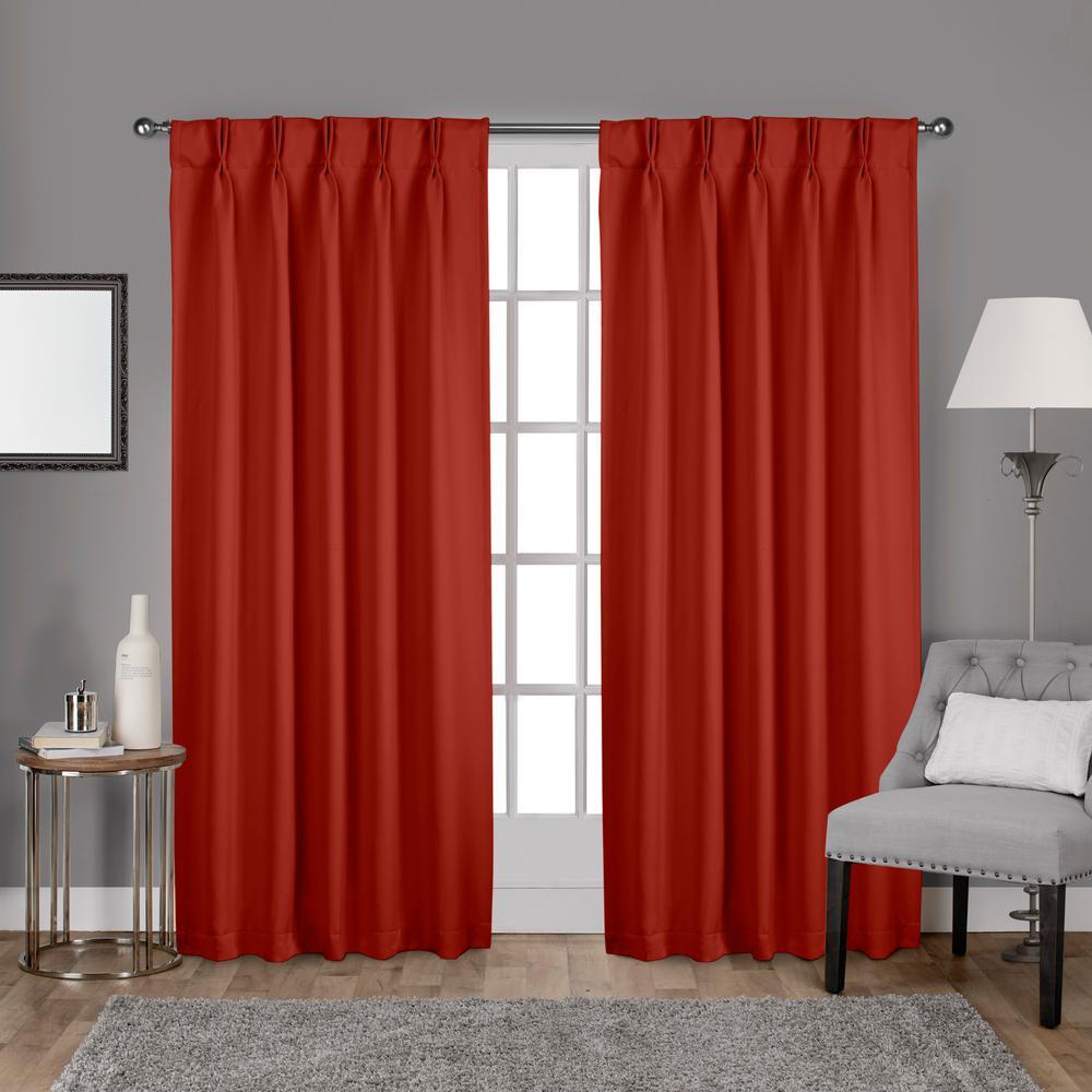 Sateen 30 in. W x 96 in. L Woven Blackout Pinch Pleat Top Curtain Panel in Mecca Orange (2 Panels)
