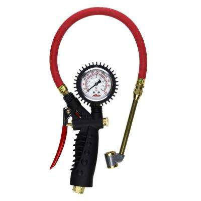 Pro Analog Pistol Grip Inflator Gauge with Large Bore Dual Chuck and 15 in. Hose