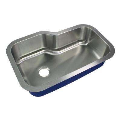 Meridian Undermount Stainless Steel 33 in. Single Bowl Kitchen Sink in Brushed Stainless Steel