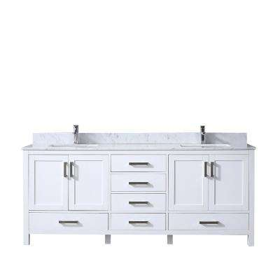 Jacques 80 in. Double Vanity White, White Carrera Marble Top, White Square Sinks and no Mirror