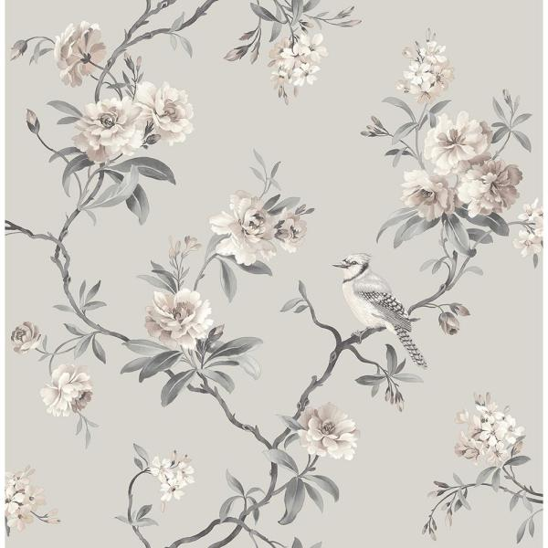 Chinoiserie Stone Floral Paper Peelable Roll Wallpaper (Covers 56.4 sq. ft.)