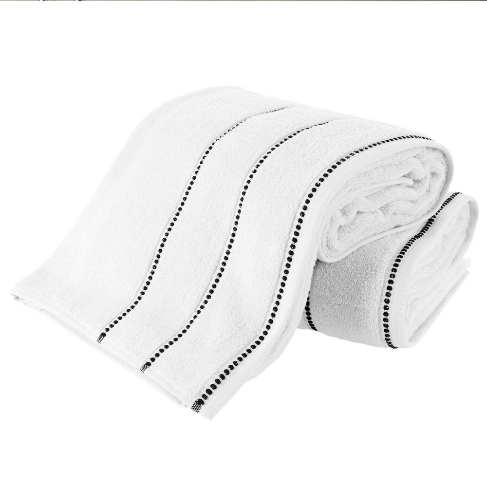 100% Zero Twist Cotton Bath Sheet Set in White and Black