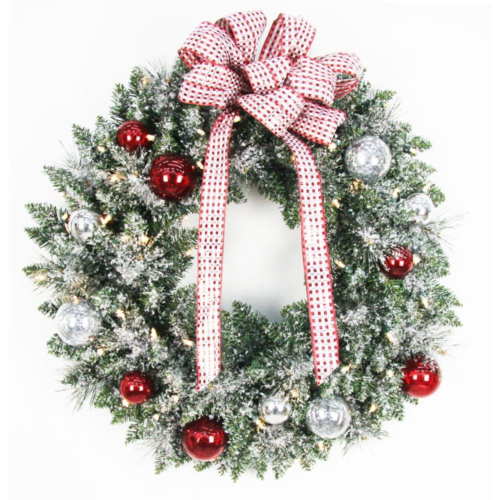 home accents holiday 30 in battery operated frosted mercury artificial wreath with 50 clear led