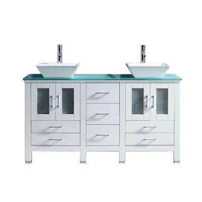 Bradford 60 in. W Bath Vanity in White with Glass Vanity Top in Aqua Tempered Glass with Square Basin