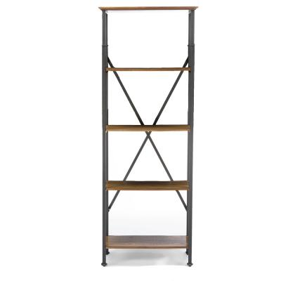 74.25 in. Medium Brown Metal 4-shelf Etagere Bookcase with Open Back