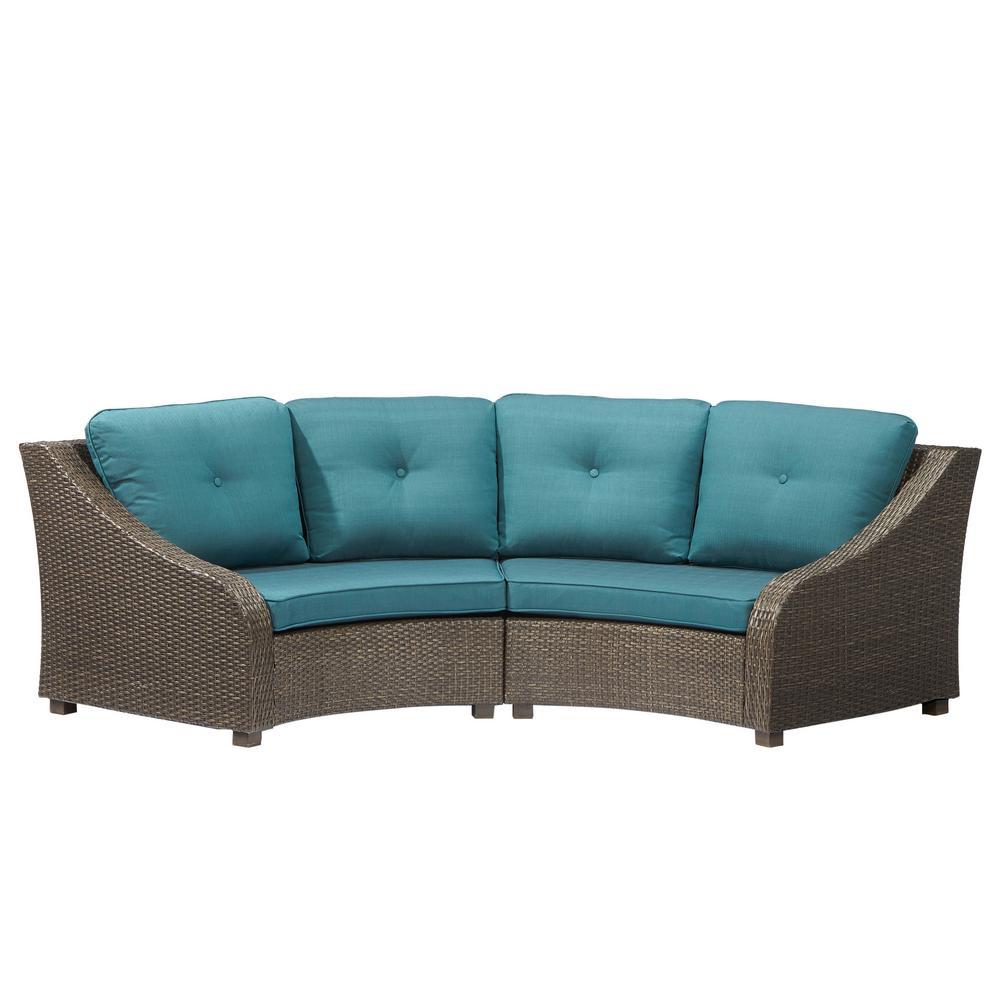 Hampton Bay Torquay Wicker Outdoor Sofa Ends with Charleston Cushions