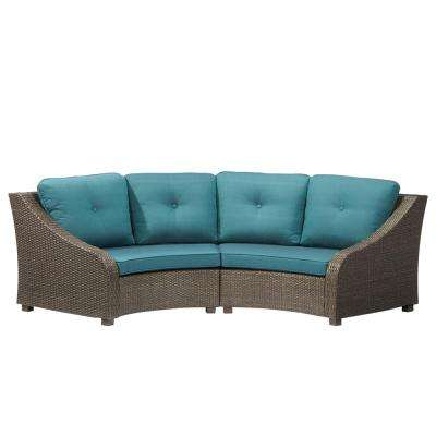 Torquay Wicker Outdoor Sofa Ends with Charleston Cushions