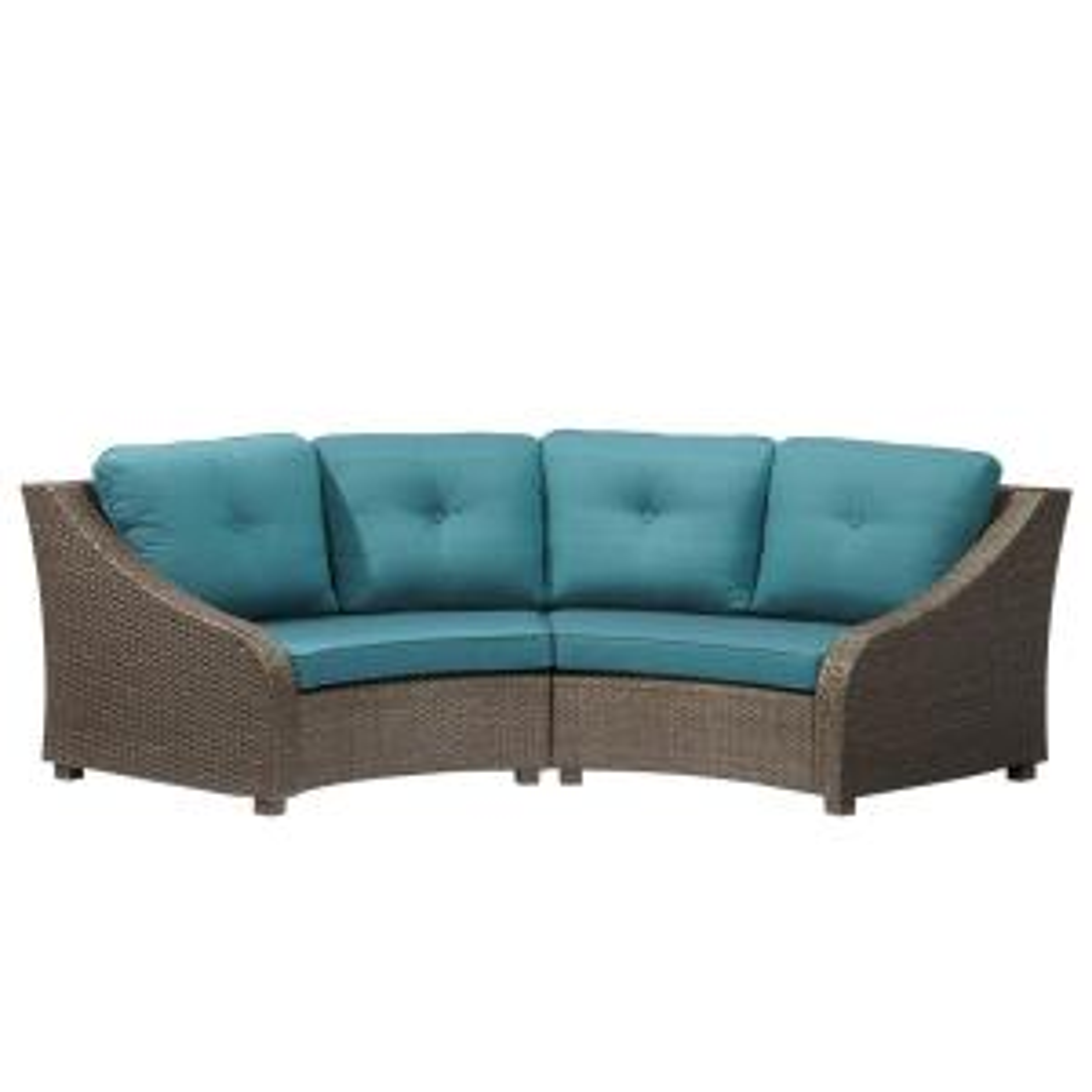 Hampton Bay Torquay Wicker Outdoor Sofa with Charleston Cushions by Hampton Bay