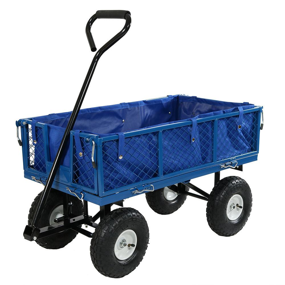 Sunnydaze Decor Blue Steel Utility Cart with Folding Sides and Liner
