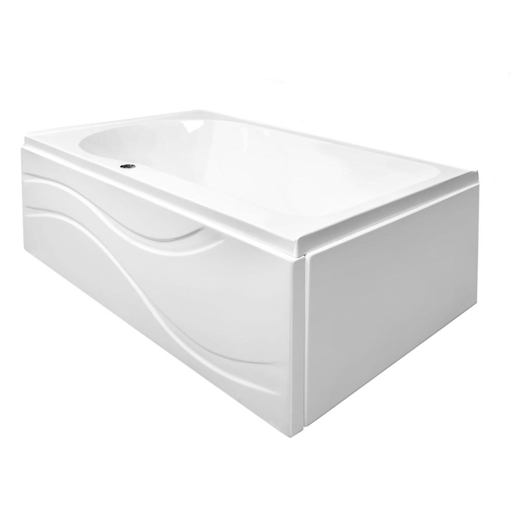 Ella Solo 60 in. L Acrylic with Right Drain Rectangular Alcove Infusion MicroBubble Air Bath Bathtub in White