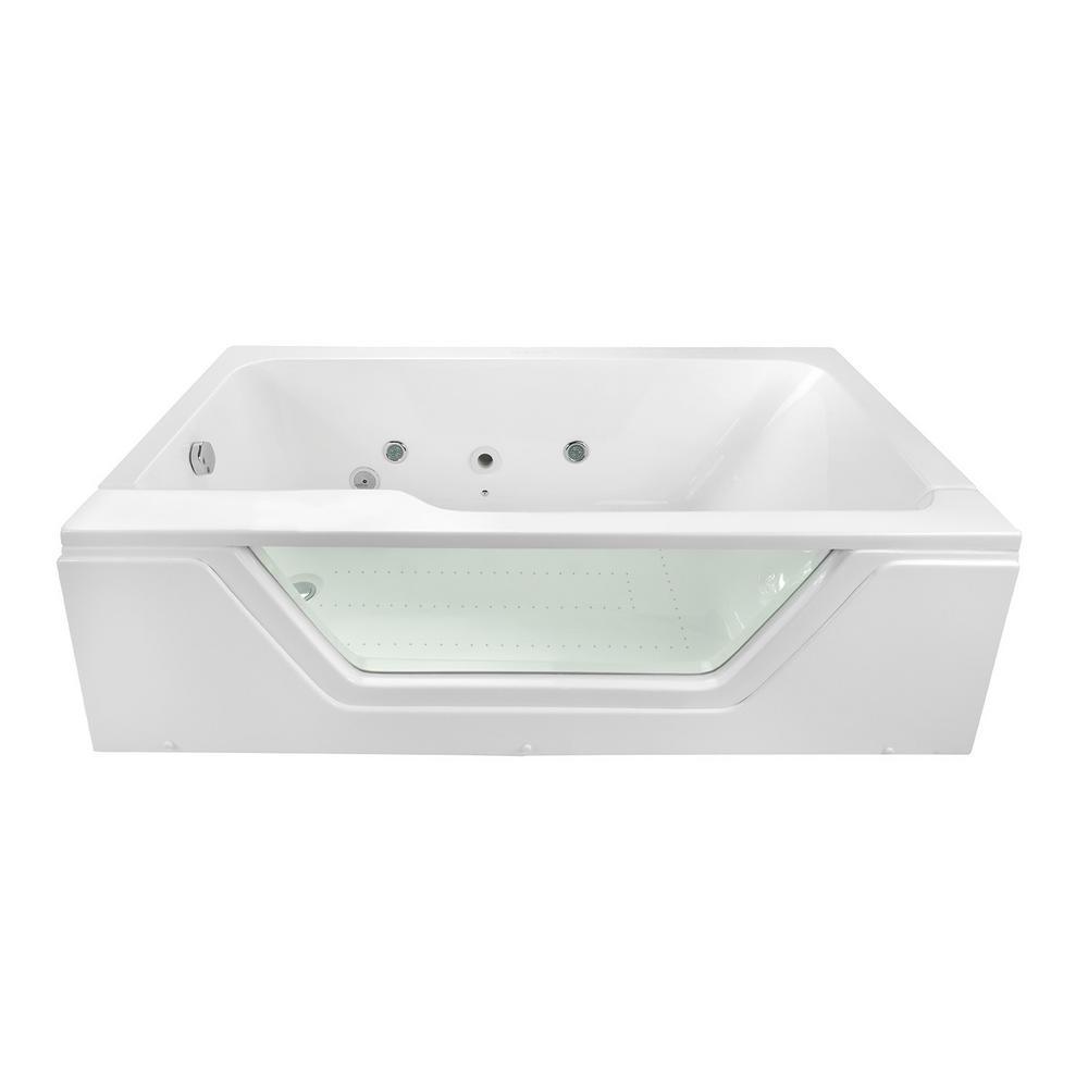 Pure 66 in. x 36 in. Acrylic Left Drain Rectangular Alcove Infusion Microbubble Air Bath Bathtub in White