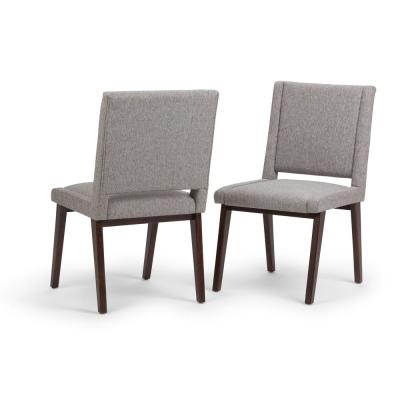 Draper Mid Century Modern Deluxe Dining Chair (Set of 2) in Grey Linen Look Fabric