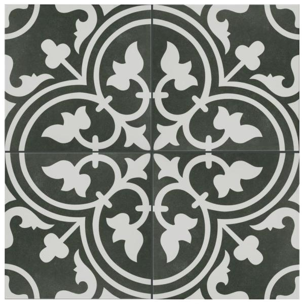 Arte Black Encaustic 9-3/4 in. x 9-3/4 in. Porcelain Floor and Wall Tile (11.11 sq. ft. / case)