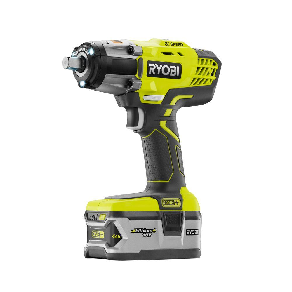 Ryobi 18 Volt ONE Cordless Lithium Ion Impact Wrench Kit With 1 40Ah Battery And Charger