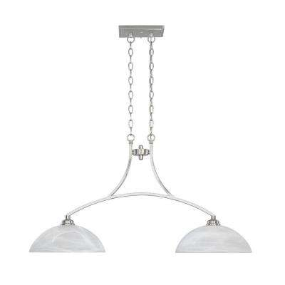 Manhattan 2-Light Satin Platinum Hanging Island Light