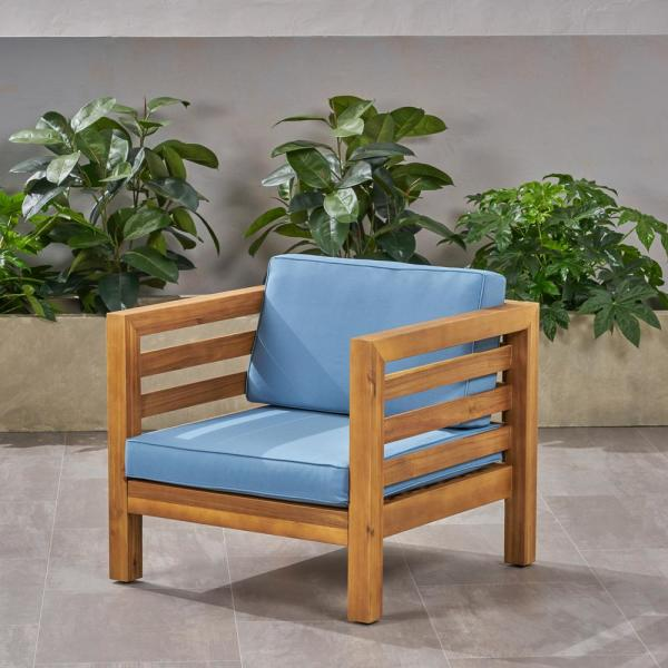 Noble House Oana Teak Brown Removable Cushions Wood Outdoor Lounge Chair With Blue Cushions 65912 The Home Depot
