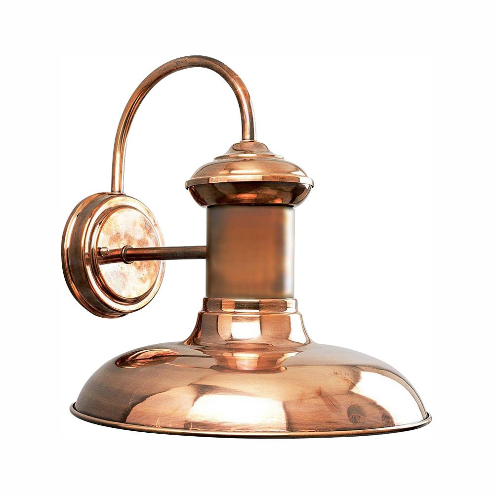 Progress Lighting Brookside Collection 1-Light Solid Copper LED 12.25 in. Outdoor Wall Lantern Sconce