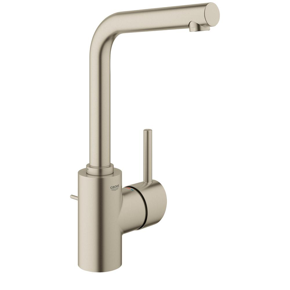 Grohe Concetto Single Hole Single Handle Bathroom Faucet In Brushed Nickel 23737en1 The Home Depot
