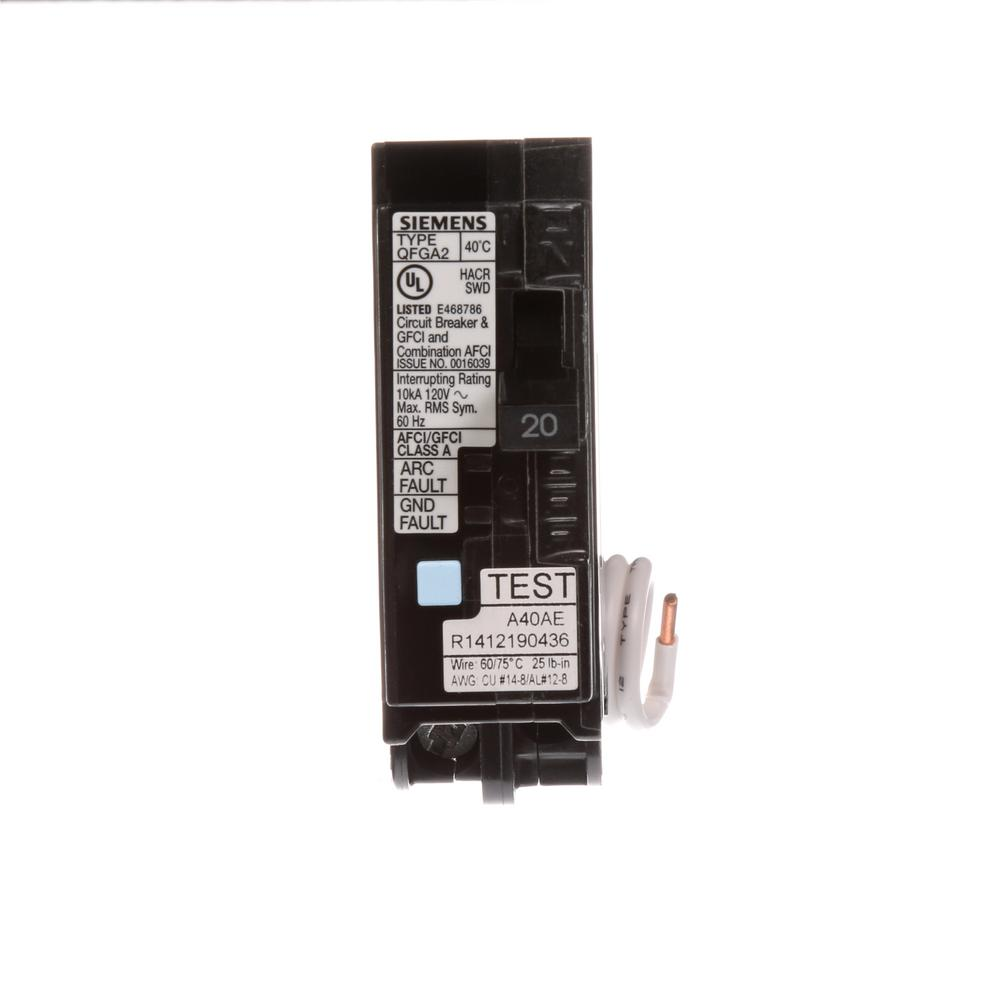 Siemens 20 Amp Afci Gfci Dual Function Circuit Breaker Q120dfp The Shop Eaton Type Br 30amp 1pole At Lowescom