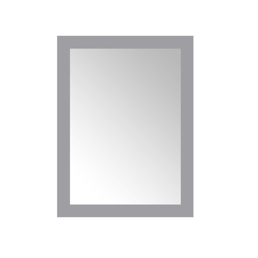 24.00 in. W x 32.00 in. H Framed Rectangular  Bathroom Vanity Mirror in Pebble Grey