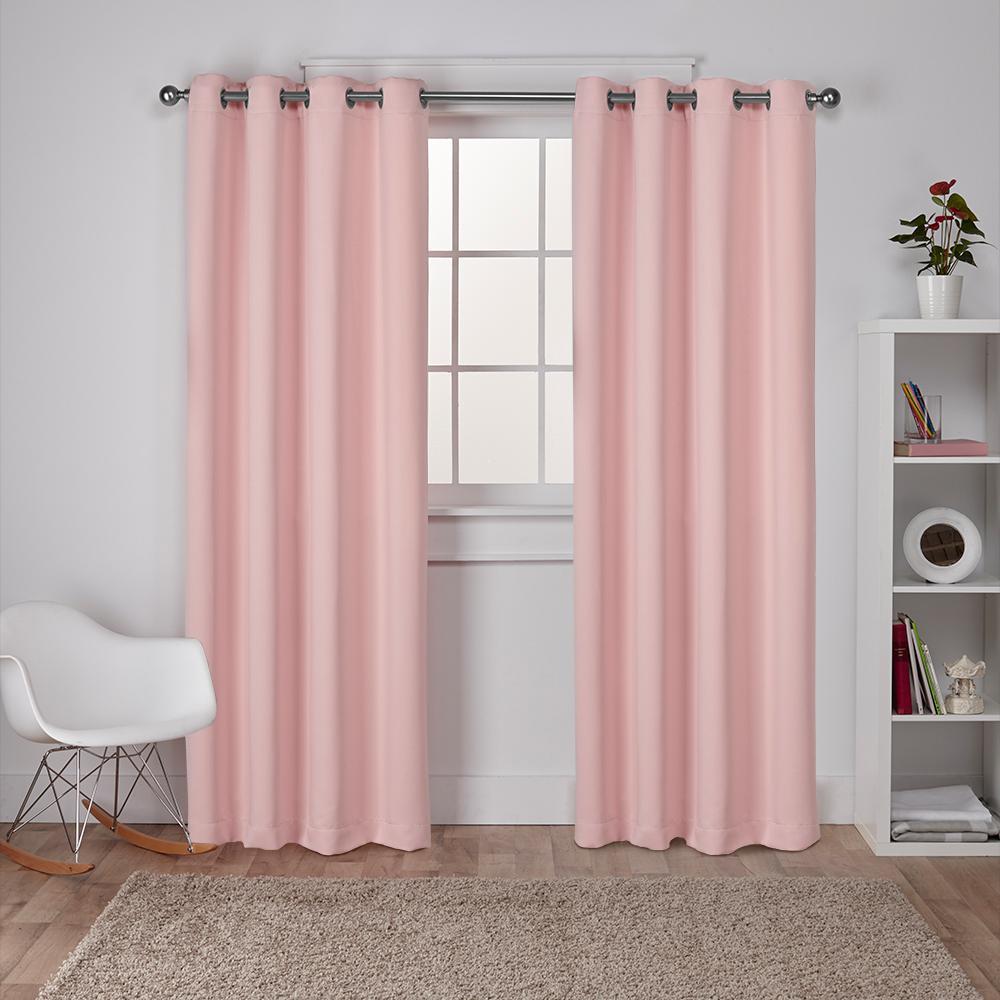 Sateen Blush Twill Weave Blackout Grommet Top Window Curtain