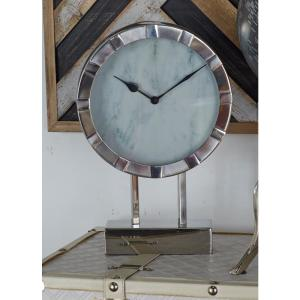 White Marble-Style Table Clock