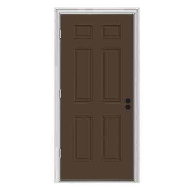 36 in. x 80 in. 6-Panel Dark Chocolate Painted Steel Prehung Right-Hand Outswing Front Door w/Brickmould