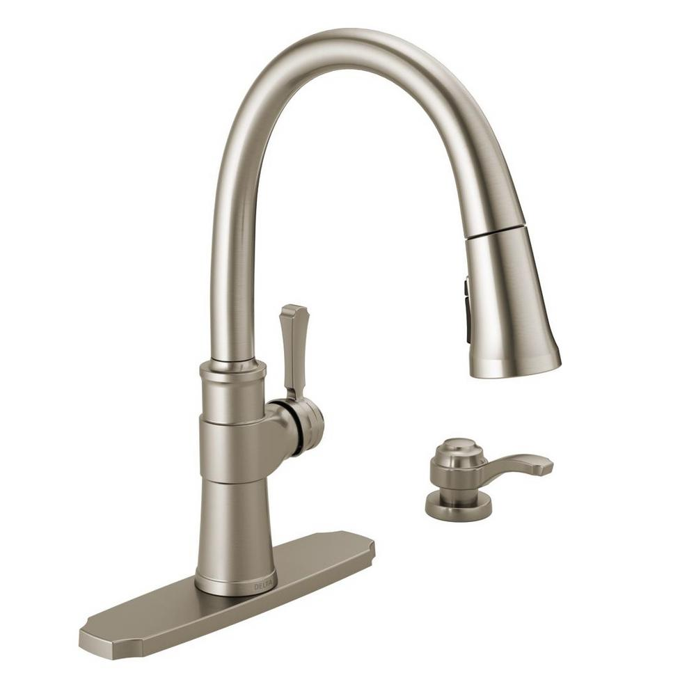 Delta Spargo Single-Handle Pull-Down Sprayer Kitchen Faucet with Soap  Dispenser in SpotShield Stainless