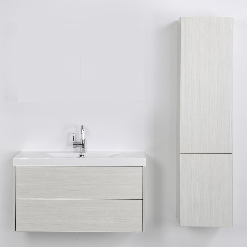 Streamline 39.4 in. W x 19.4 in. H Bath Vanity in Gray with Resin Vanity Top in White with White Basin