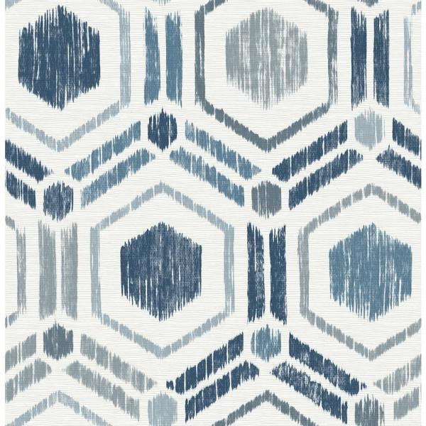 A-Street 56.4 sq. ft. Borneo Blue Geometric Grasscloth Wallpaper 2901-25433