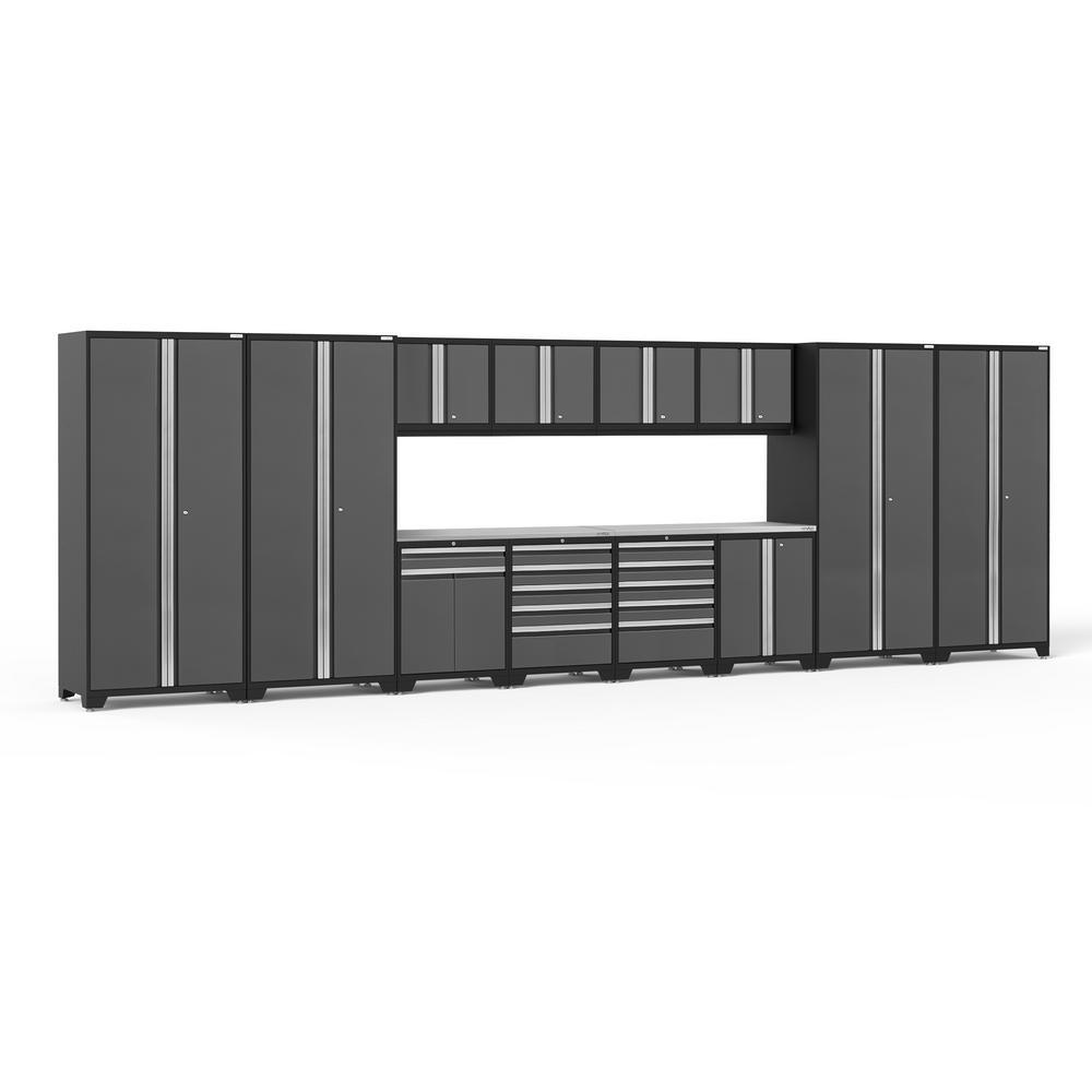 NewAge Products Pro Series 3.0 256 in. W x 85.25 in. H x 24 in. D 18-Gauge Welded Steel Garage Cabinet Set in Gray (14-Piece)