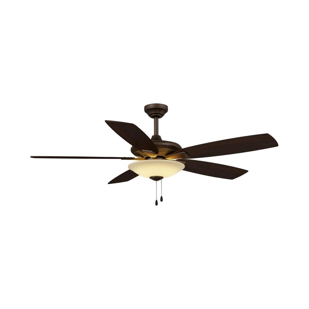 Hampton Bay Menage 52 In Integrated Led Indoor Low Profile Oil Rubbed Bronze Ceiling Fan With Light Kit
