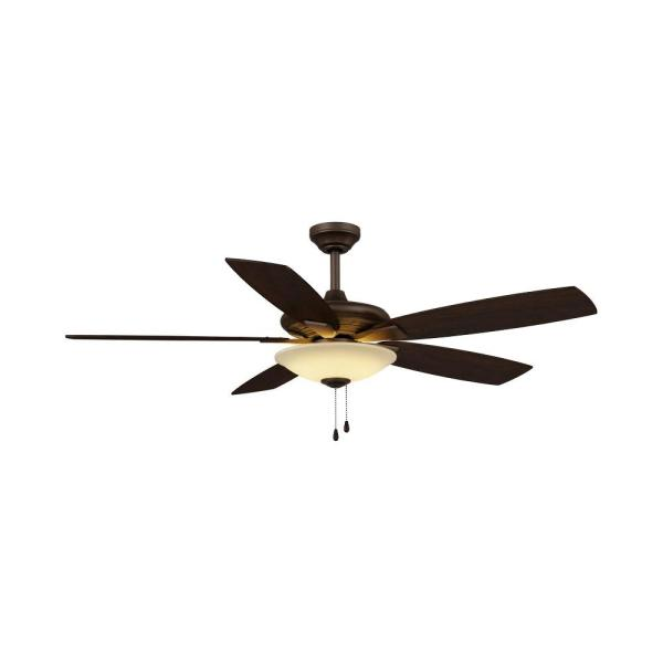 Menage 52 in. Integrated LED Indoor Low Profile Oil Rubbed Bronze Ceiling Fan with Light Kit