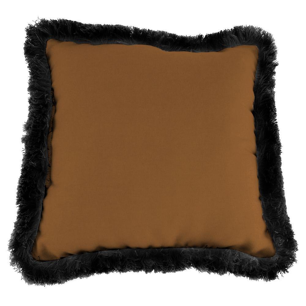 Sunbrella Canvas Teak Square Outdoor Throw Pillow with Black Fringe