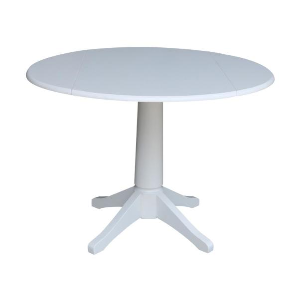 International Concepts Olivia White 42 in. Drop-Leaf Solid Wood Dining Table