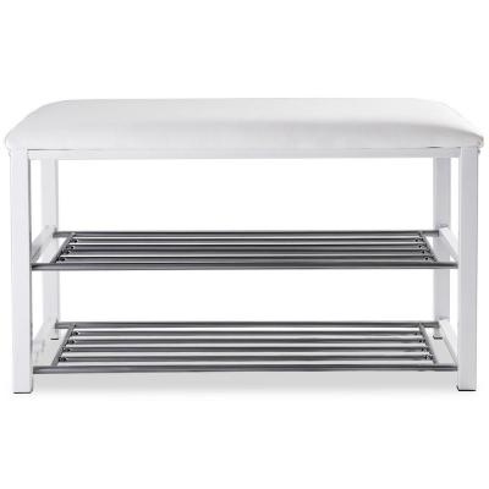 19 in. H x 32 in. W 2 Tier 6- Pair Entryway Metal Soft Seat Shoe Rack Bench