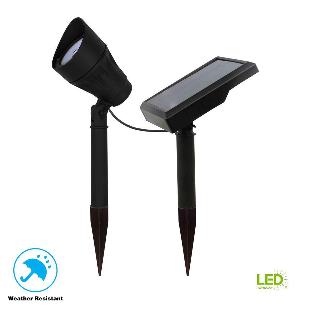 Solar Black Outdoor Integrated LED 3000K 40 Lumens Warm White Landscape Metal Spot Light with Solar Panel (2-Pack)