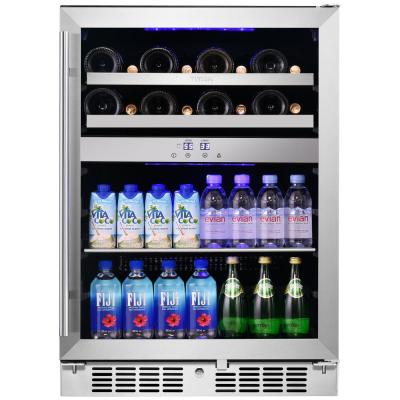 Signature 24 in. 16-Bottle and 70-Can Stainless Steel Single Door Dual Zone Built-In Wine and Beverage Cooler