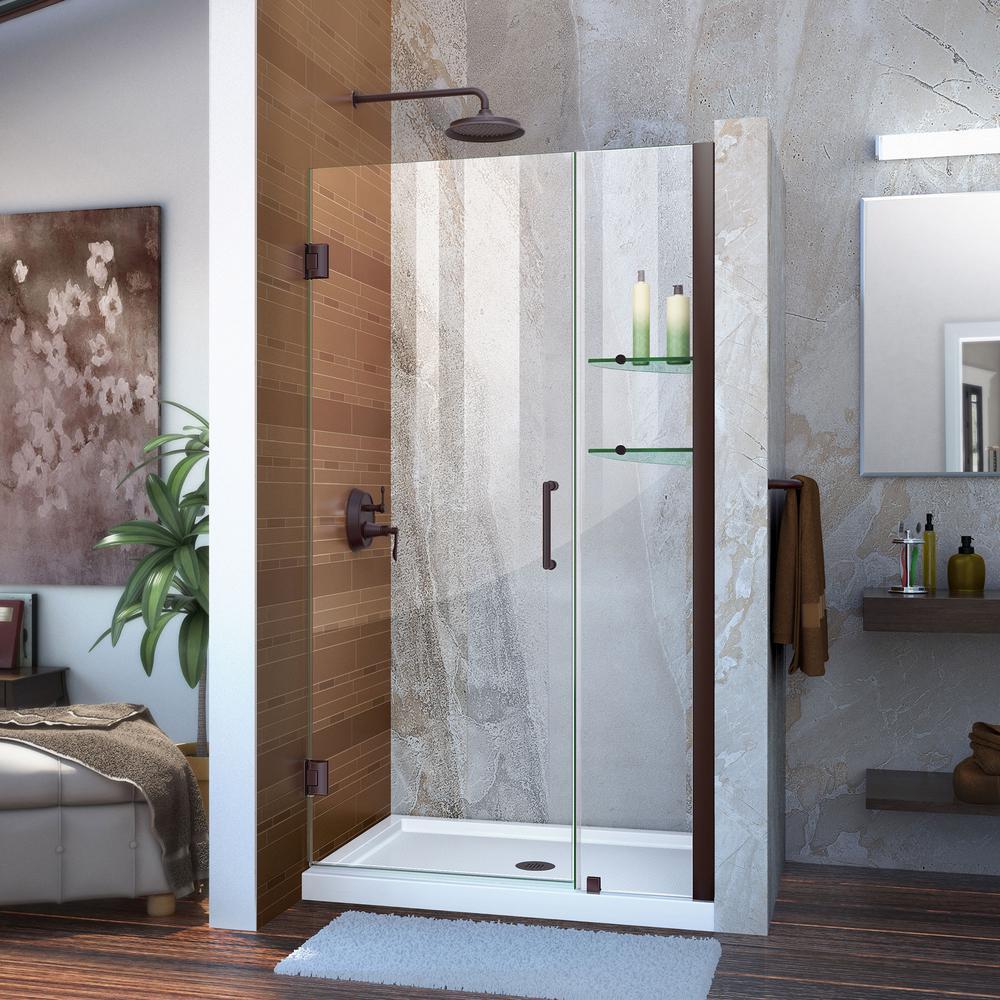 Unidoor 38 to 39 in. x 72 in. Frameless Hinged Pivot Shower Door in Oil Rubbed Bronze with Handle