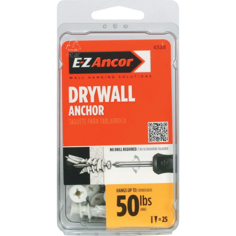 E-Z Ancor Twist-N-Lock 50 lb. Drywall Anchors with Screws (25-Pack)