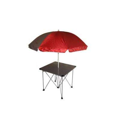 27.5 in. Aluminum Roll Slate Graphite Grey Table with Umbrella