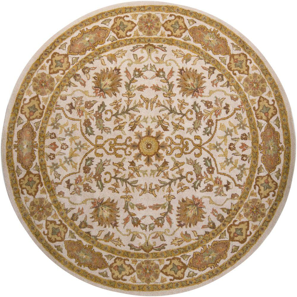 Adonia Cream/Gold/Brown/ Green 8 ft. Indoor Round Area Rug