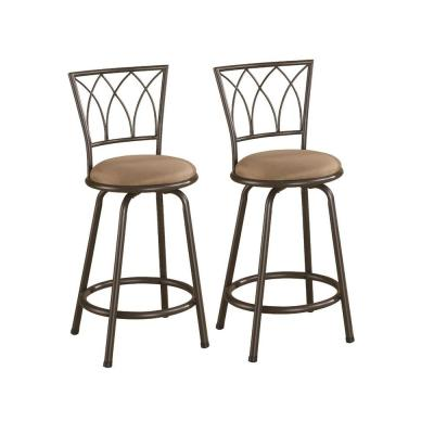24 in. Metal Counter Stools with Upholstered Seat Brown and Bronze (Set of 2)