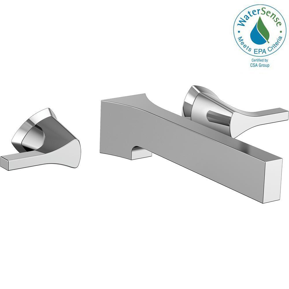 Zura 2-Handle Wall Mount Bathroom Faucet Trim Kit in Chrome (Valve