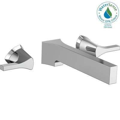 Zura 2-Handle Wall Mount Bathroom Faucet Trim Kit in Chrome (Valve Not Included)